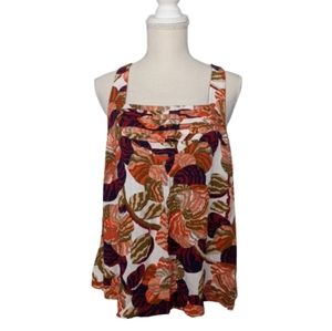 Anthropologie Maeve Floral Print Pleated Tank
